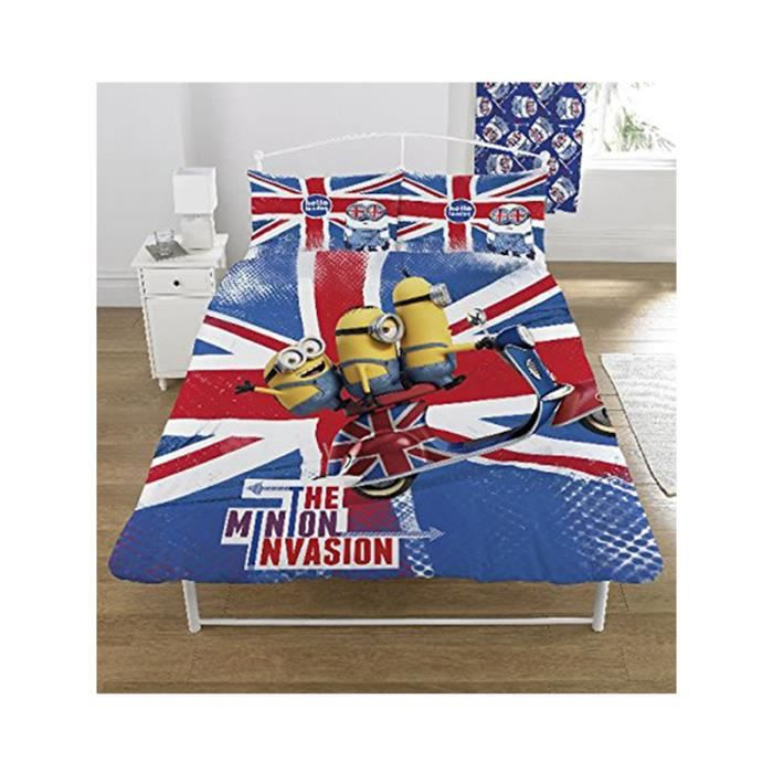 housse de couette 2 pers minion union jack achat vente. Black Bedroom Furniture Sets. Home Design Ideas