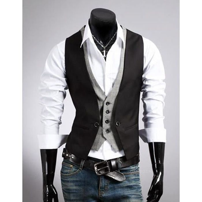 homme gilet de costume slim fashion conception noir noir achat vente gilet cardigan. Black Bedroom Furniture Sets. Home Design Ideas