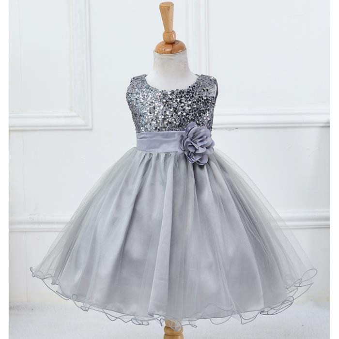 Robe Ceremonie Bapteme Fille Enfant Robe D Enfant Pour Mariage Robe Courte Gris Tu Achat Vente Robe De Mariee Cdiscount