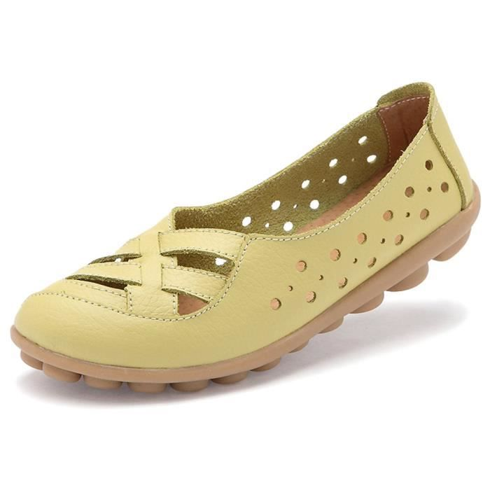 Cuir Mocassins Flats Sandales Mules QV5N1 Taille-37
