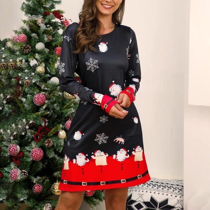 JUPE Mode Casual Robe de Noël Femmes Manches Longues Sw