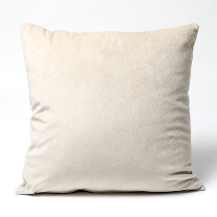 Housse coussin velours 40 x 40 cm velours ecru achat for Housse coussin velours