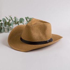 CHAPEAU - BOB Chapeau Cowboy Paille Homme Femme Kaki