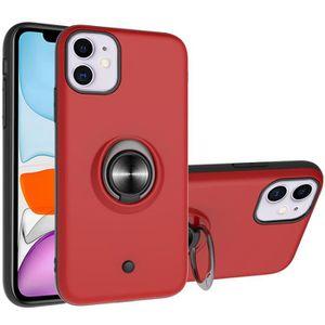 Coque iPhone 11Rouge Antichoc Cuir Premium Porte