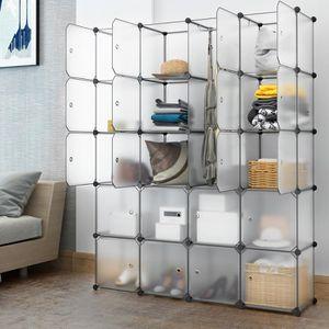 CASIER POUR MEUBLE LANGRIA 20 Cubes Penderie Modulable avec Portes Ga