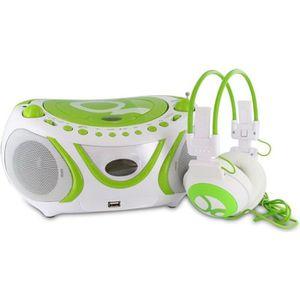 RADIO CD CASSETTE METRONIC 477172 Radio CD-MP3 + casque Gulli vert