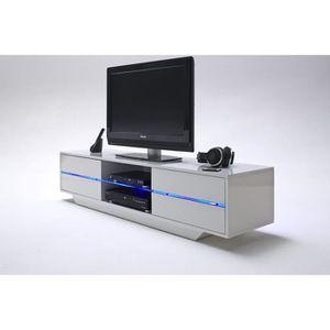 MEUBLE TV Meuble TV avec LED bleu coloris laqué blanc brilla