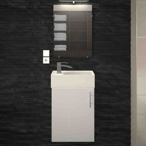 SALLE DE BAIN COMPLETE Meuble vasque 1 porte Blanc laqué - FRANCIS - L 38