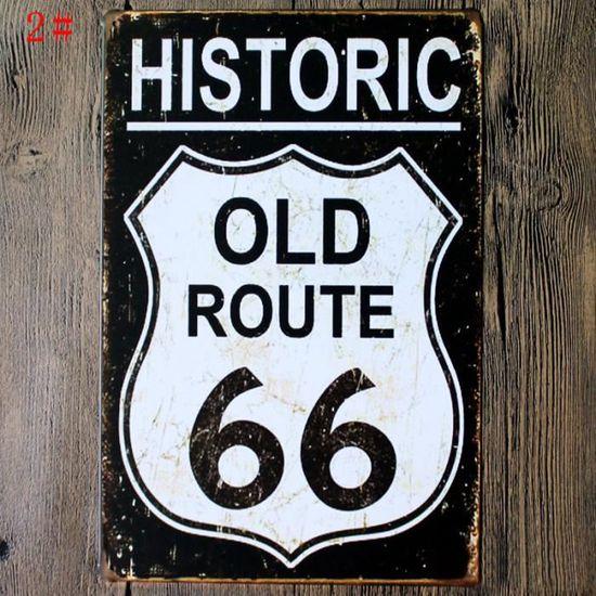 Route 66 Est Date 1926 Plaque en Fer Blanc M/étallique Vintage Affiche dart Mural Peinture De Fer D/écoration Dint/érieur Artisanat Caf/é Bar Magasin Cadeau