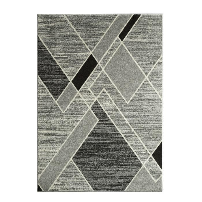 tapis gris 120x170 achat vente tapis gris 120x170 pas cher cdiscount. Black Bedroom Furniture Sets. Home Design Ideas