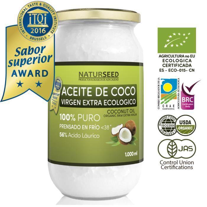 Huile de coco extra vierge bio 1000 ml, Naturseed, ebook. Extraction à froid , source d'énergie naturelle pour les athlètes