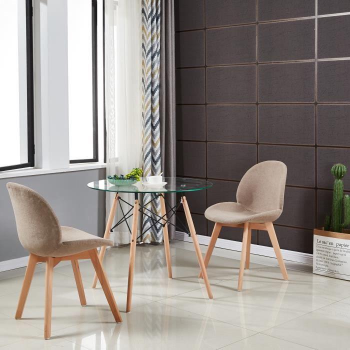 IPOTIUS Table Salle à Manger Ronde Scandinave Design, Pieds en Bois et Armature en Métal, 80x80x75cm Transparent