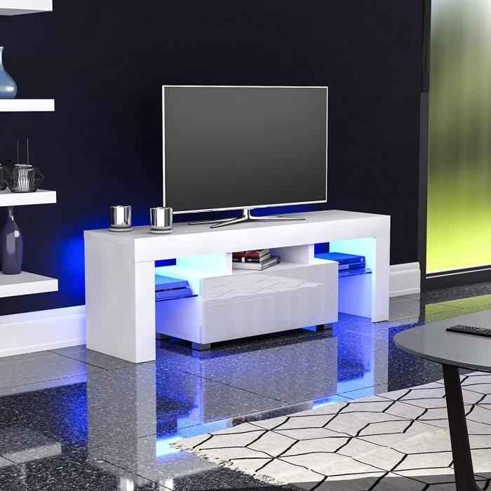 Meuble TV / Meuble de Salon - DRIPEX - 130 cm - blanc mat / blanc brillant - Avec LED