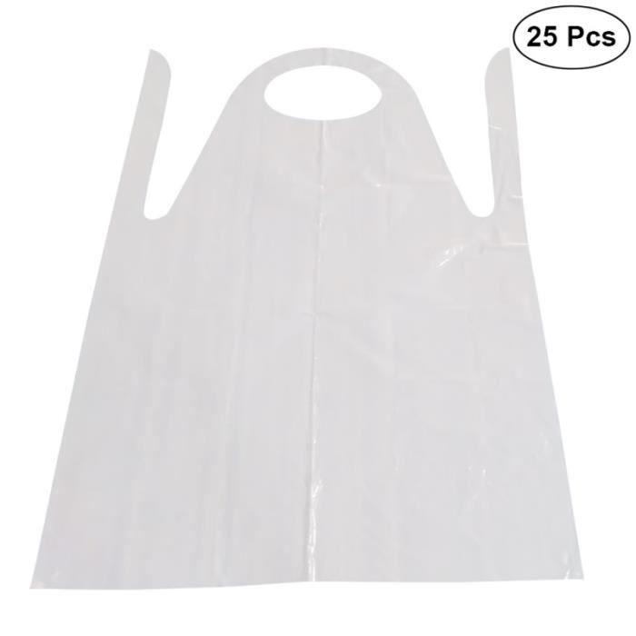 25 tabliers jetables unisexe unisexe tablier en plastique PE antifouling imperméable à l'huile pour la peinture de cuisson ou toute