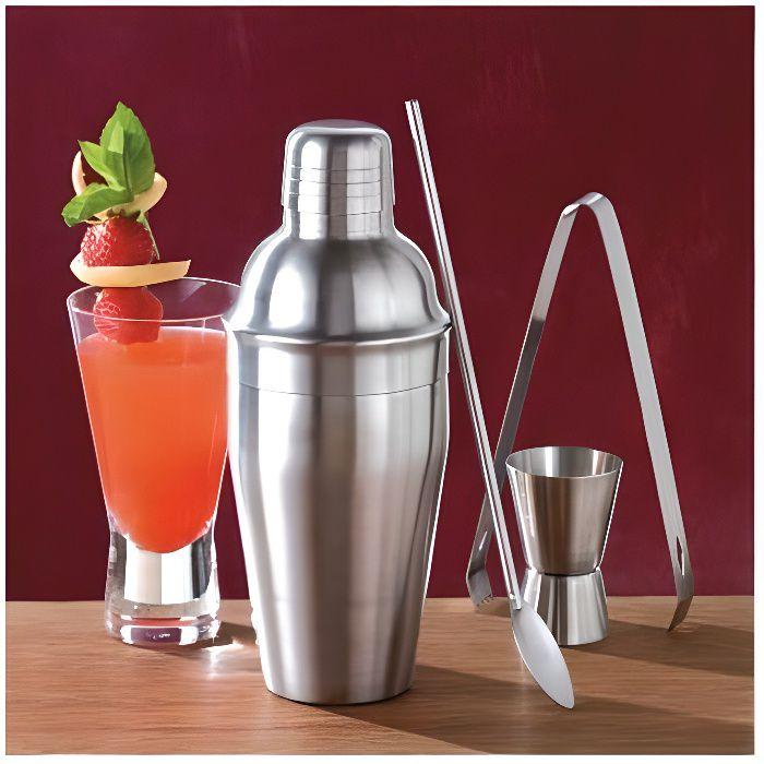 Coffret Shaker à cocktails inox - lot de 4 ustensiles
