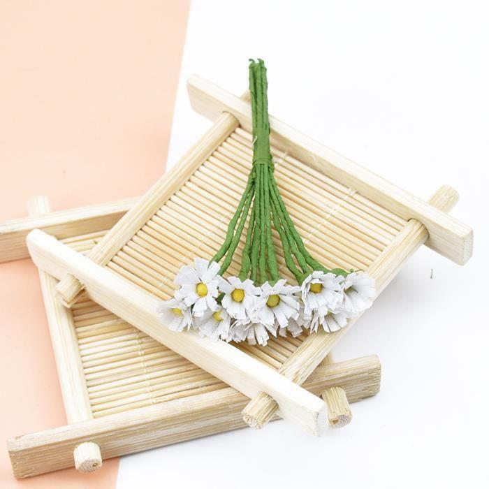 MINI guirlande de fleurs décoratives 10 pièces, Couronne de fleurs en soie, bricolage, bonbonnière, accessoires pour - white