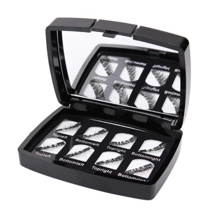PRI 8 pièces cils magnétiques 3D fait à la main réutilisable faux cils Extension naturelle avec miroir et étui accessoire de