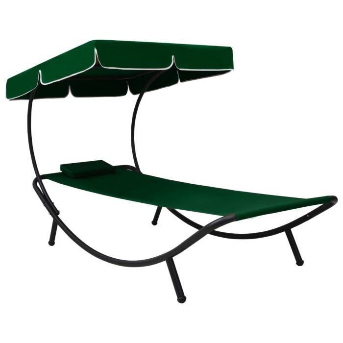 MBP® Chaise longue Lit de repos d'extérieur synthétique Haut de gamme - Bain de soleil avec auvent et oreiller Vert 968997