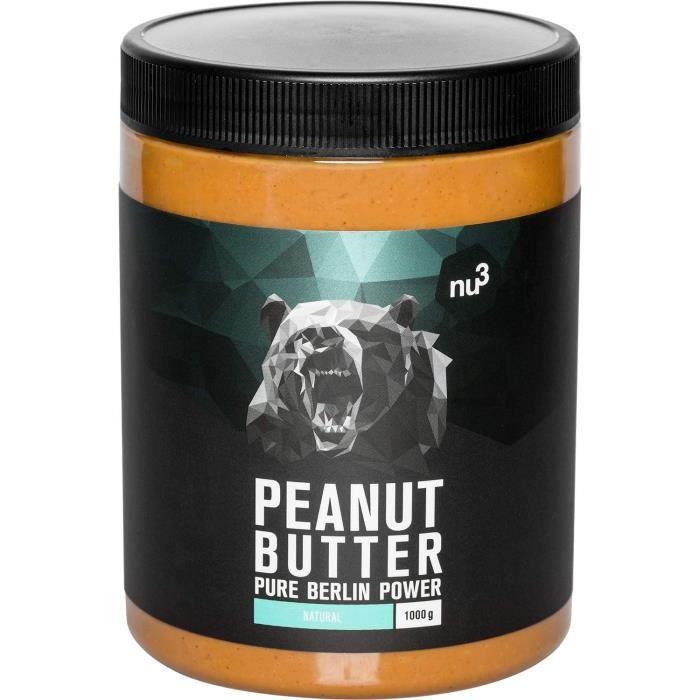 nu3 Beurre de cacahuète naturel onctueux (Peanut Butter) 1 kg 100% beurre d'arachide - Naturellement protéiné - Sans sucre, sel et h