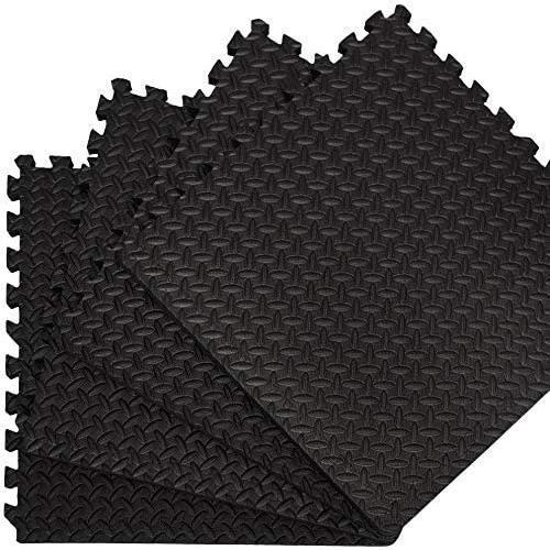 Lot de 6 dalles Tapis Puzzle de Fitness Protection Sol Noir antideacuterapant[185]