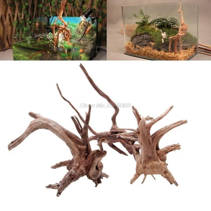 Décoration - aquarium,Aquarium en bois flotté, 1 pièce, arbre naturel, plante, décoration d'aquarium, vente en - Type wood color-S