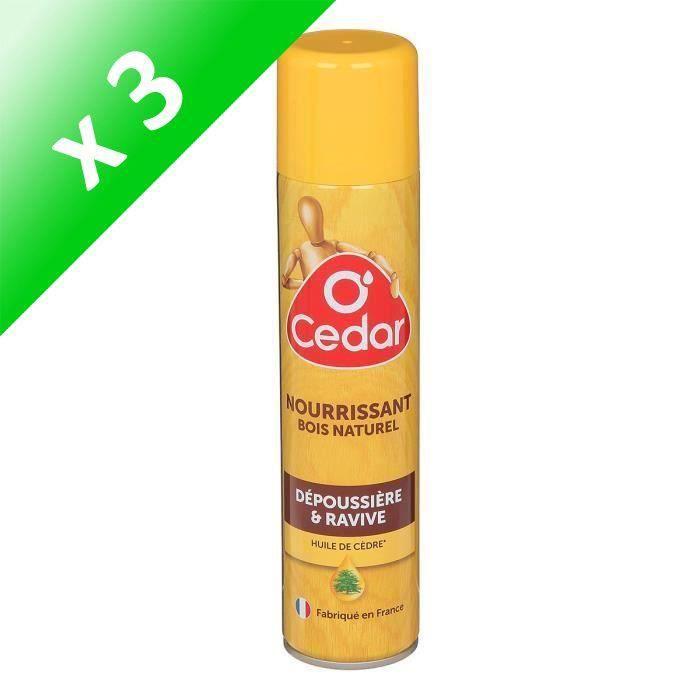 O CEDAR Dépoussiérant Nourrissant Bois Naturel - Aérosol - 300 ml (Lot de 3)
