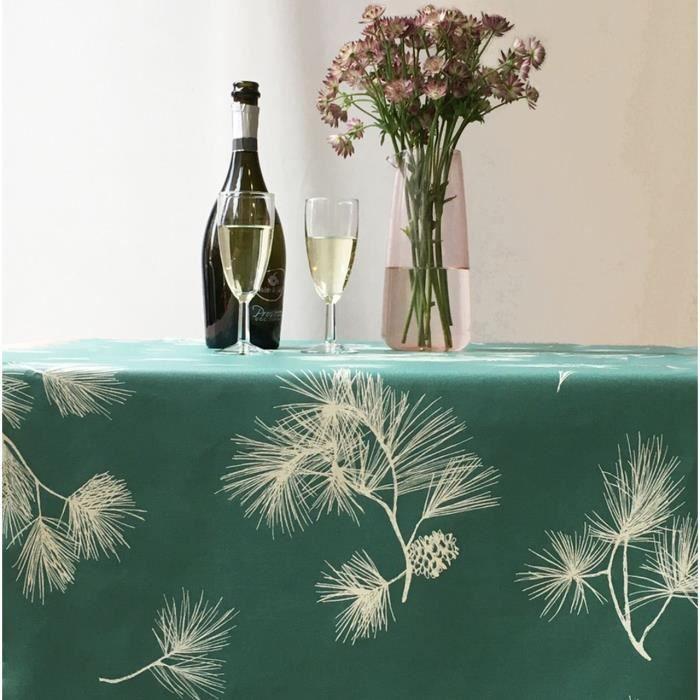 Nappe Pin vert coton enduit ovale 160x200 - Fleur de Soleil