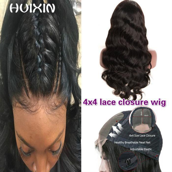 Vague De Corps Perruque 4x4 Lacet closure Perruques Perruques De Cheveux Humains Brésilienne Sans Colle Perruques 12pouce