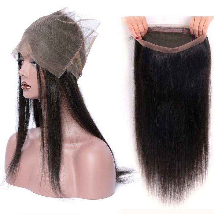 24-Extensions de cheveux naturels 360 Lace frontal Closure LISSE Lace Frontal