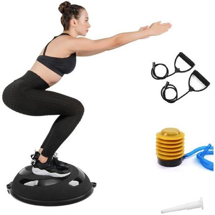 ISE Balance trainer, Demi-Ballon d'Entraînement Ø 58 cm,avec Câbles de Resistance et Pompe,pour Yoga, Gymnastique,Noir SY-BAS1004-BK