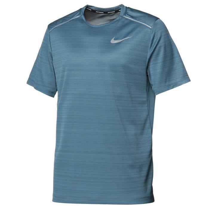 NIKE T shirt running Dry Miler SS - Homme - Bleu