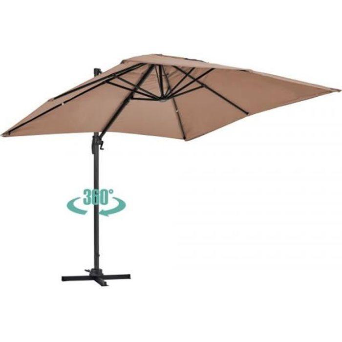 Parasol déporté rotatif, structure en aluminium, 2x3m modèle Amalya Beige