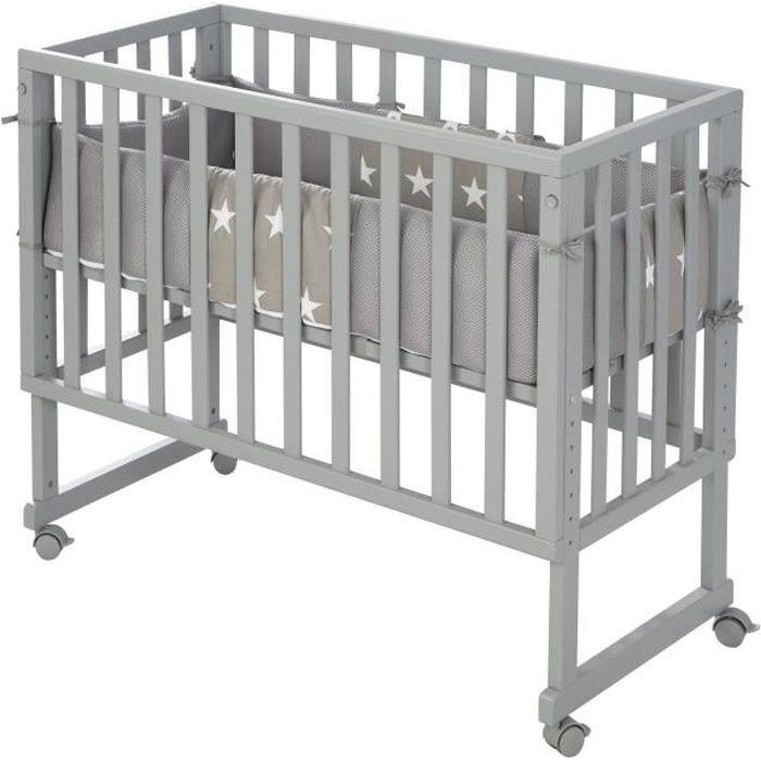 ROBA Berceau cododo -safe asleep®- 2 en 1 avec tour de lit -Little Stars-, matelas et barrière inclus