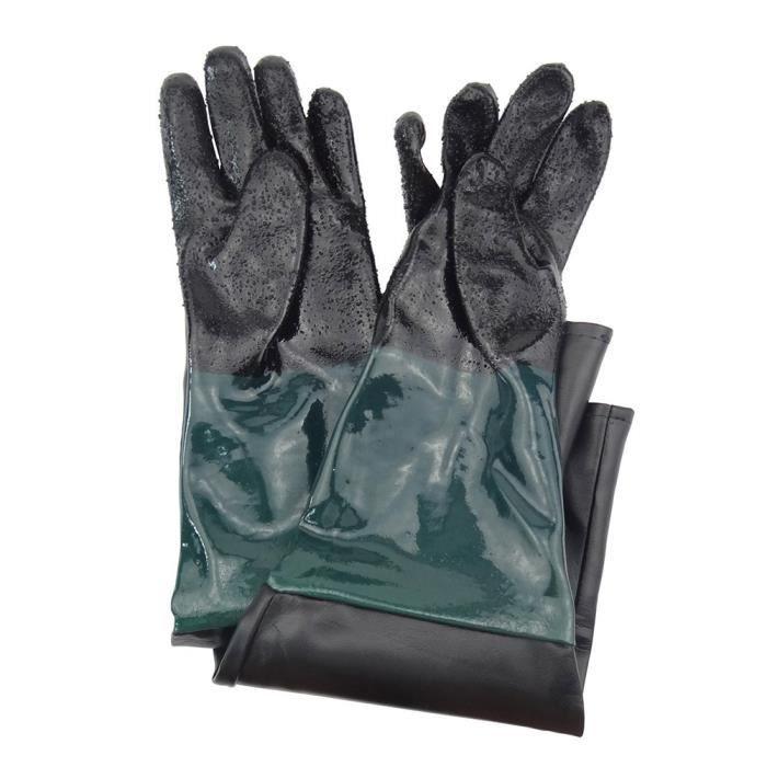 Gants de sablage en caoutchouc Anti-glissement de 60cm PVC Gants spéciaux pour la machine de sablage