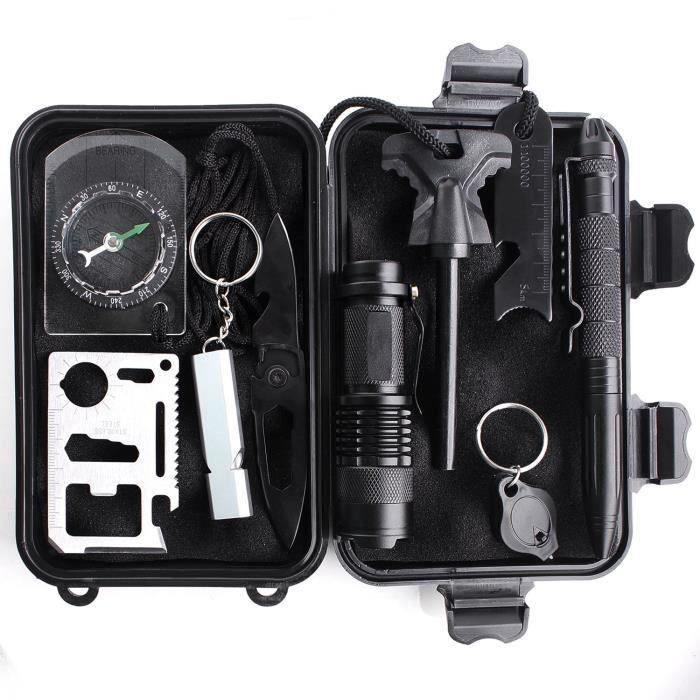 l'Ensemble Outil de Servie, Kit de Survie Trousse d'Urgence en Plein Aire avec 10 outils, Racloir, Lampe de Poche, Pierre à Feu, Sif