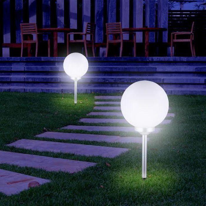 Balise solaire et LED boule à planter ou à poser en plastique blanc diamètre 20cm Apollon-