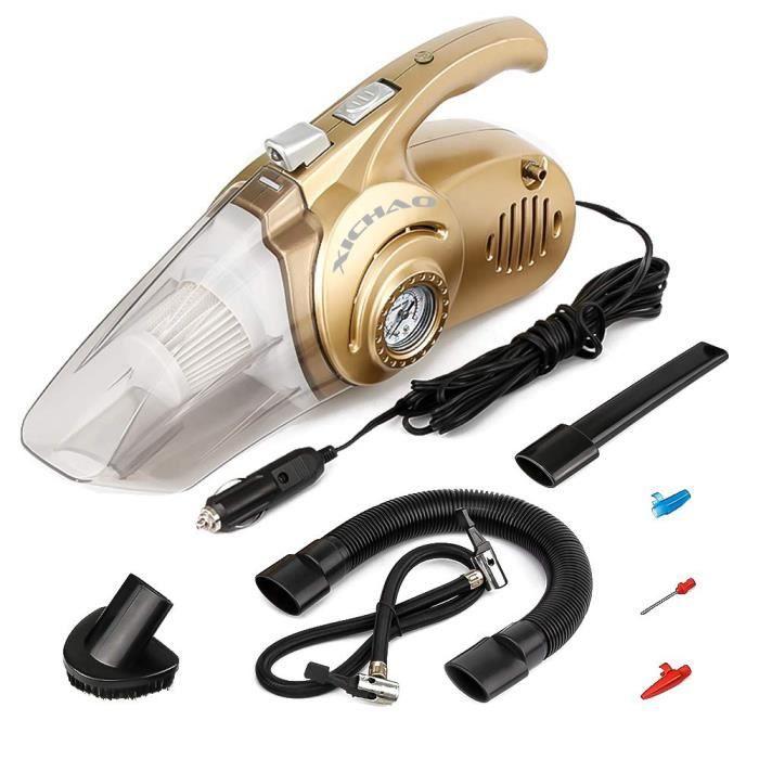 4 en 1 Aspirateur Portable de Voiture avec Gonfleur et Jauge de Pression LED Intégré