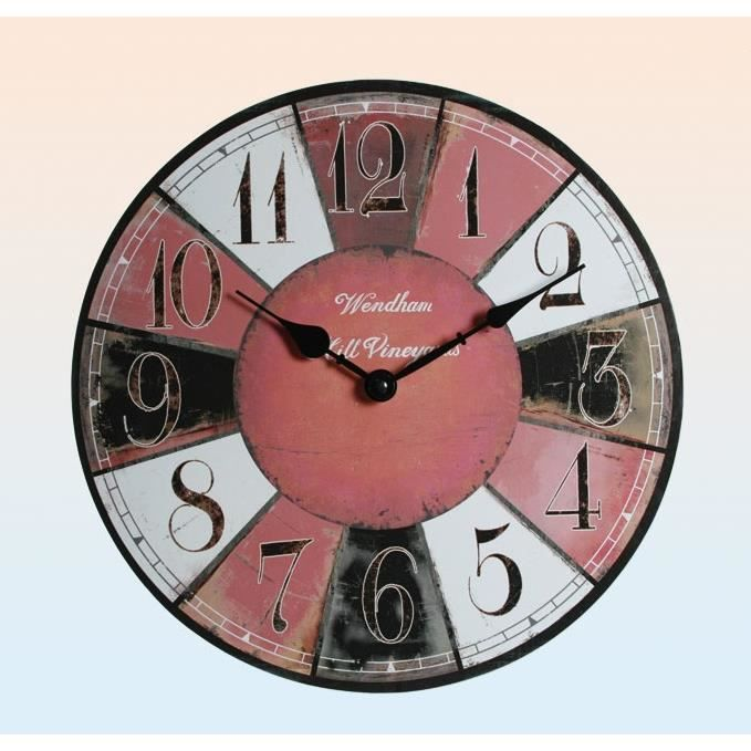 horloge pendule murale design bois 33 cm achat vente horloge cdiscount. Black Bedroom Furniture Sets. Home Design Ideas