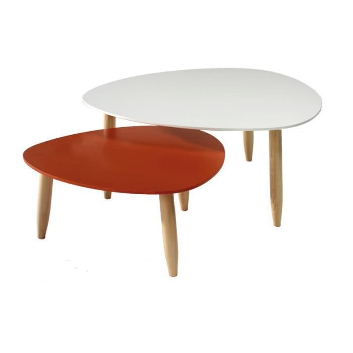 tables gigognes blanc rouge ovni l 80 x l 80 x h 35 cm achat vente table basse tables. Black Bedroom Furniture Sets. Home Design Ideas