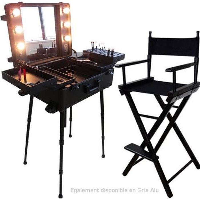 Ensemble studio make up noir table et chaise maquilleur for Ensemble table et chaise noir
