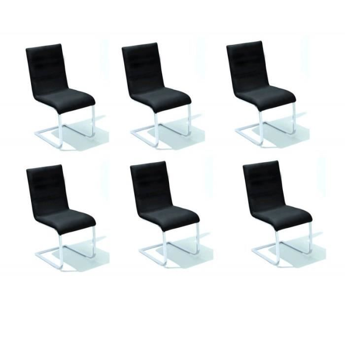 Lot de 6 chaises right noires achat vente chaise for Lot 6 chaises noires