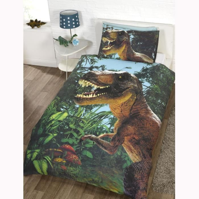 parure de lit dinosaure t rex achat vente parure de. Black Bedroom Furniture Sets. Home Design Ideas