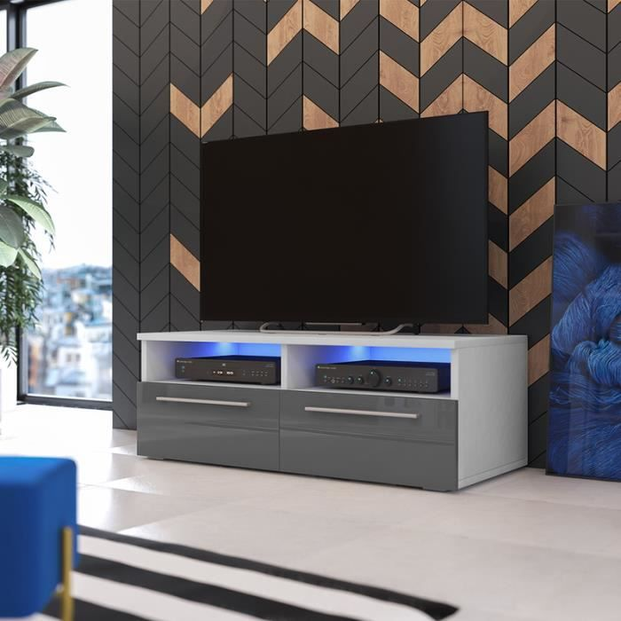 meuble tv siena blanc mat gris brillant avec led achat vente living meuble tv meuble tv. Black Bedroom Furniture Sets. Home Design Ideas