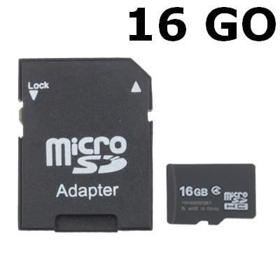 carte m moire micro sdhc 16go avec adaptateur sd achat. Black Bedroom Furniture Sets. Home Design Ideas