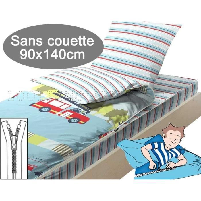 caradou couchage enfant sans couette 90x140cm pompiers achat vente housse de couette. Black Bedroom Furniture Sets. Home Design Ideas