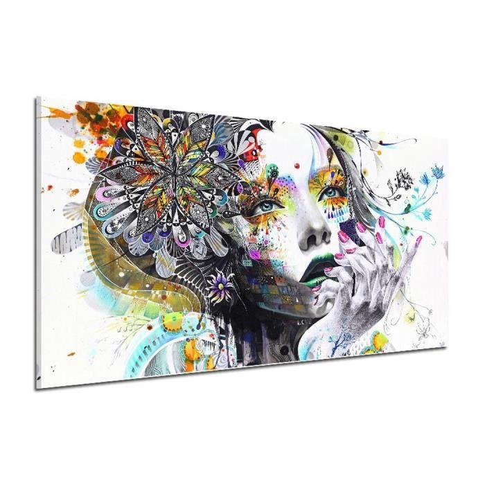 Mode Femmes Motif Toile Peinture à L Huile Mur Art Image