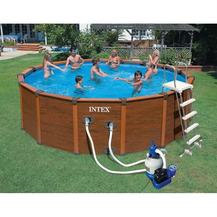 Intex sequoia piscine tubulaire ronde aspect bois 4 78 x 1 for Piscine ronde intex