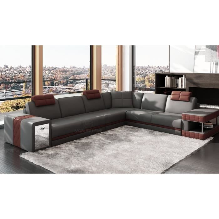 canap d 39 angle en cuir italien 6 7 places john achat vente canap sofa divan soldes. Black Bedroom Furniture Sets. Home Design Ideas