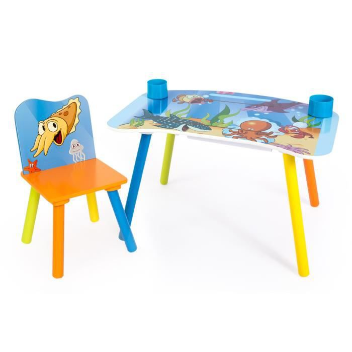 Ensemble table et chaise motif poissons achat vente for Table et chaise bebe 2 ans