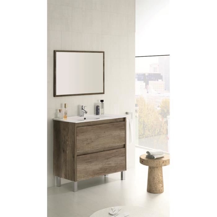 meuble sous lavabo avec 2 tiroirs nordik 80 x 80 x 45 cm achat vente meuble vasque plan. Black Bedroom Furniture Sets. Home Design Ideas